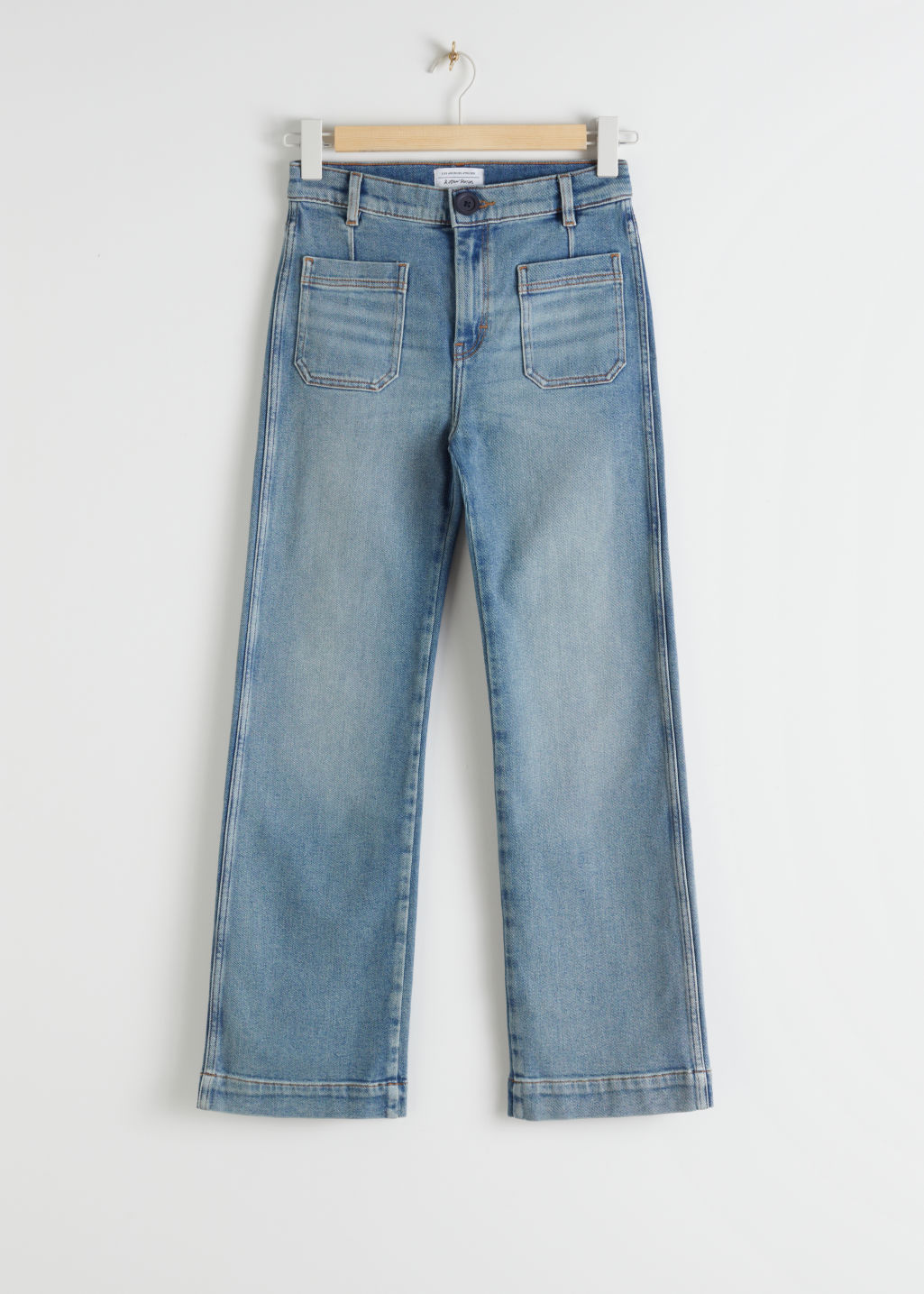 Front image of Stories straight high rise stretch jeans in blue