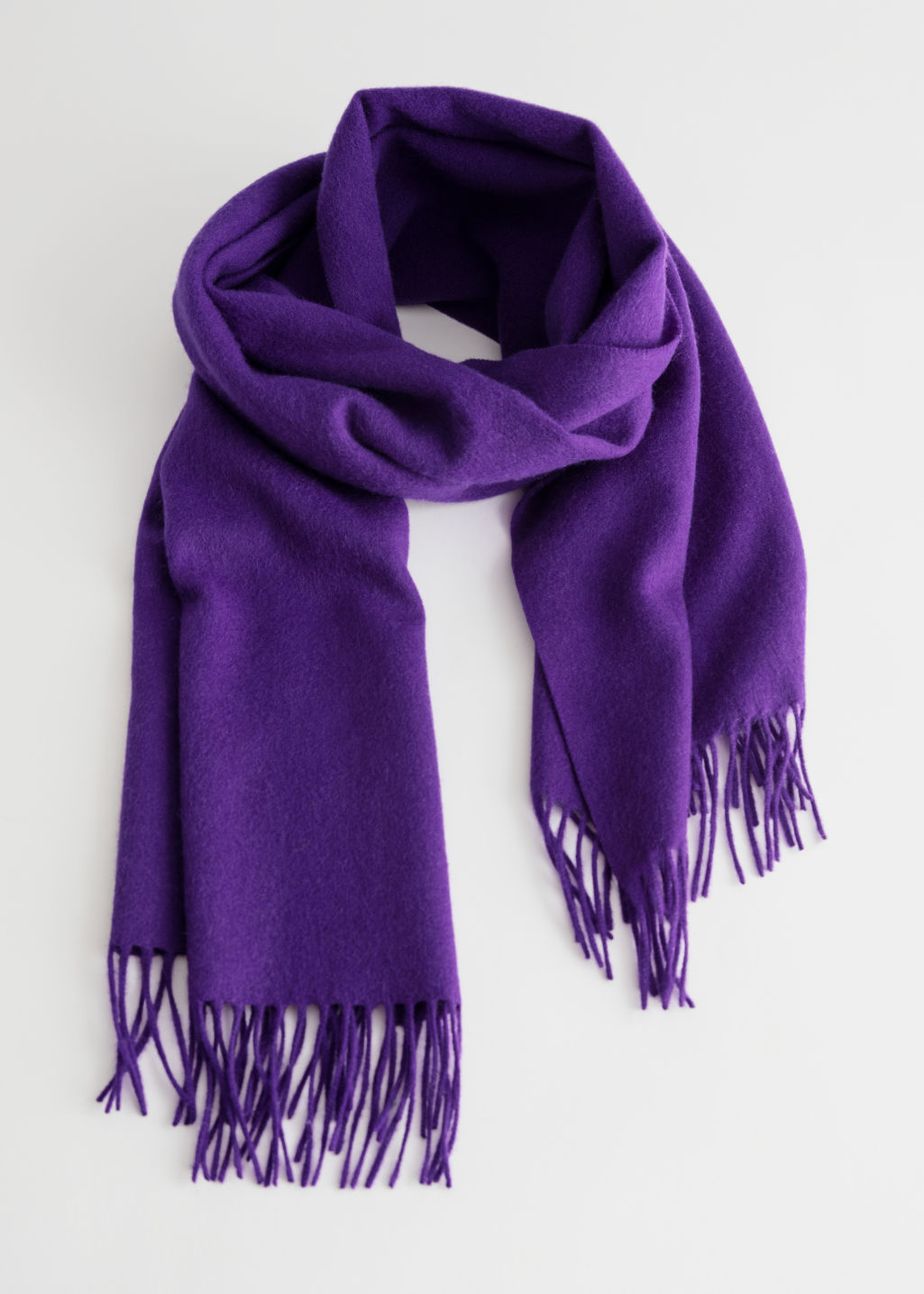 Front image of Stories wool fringed blanket scarf in purple