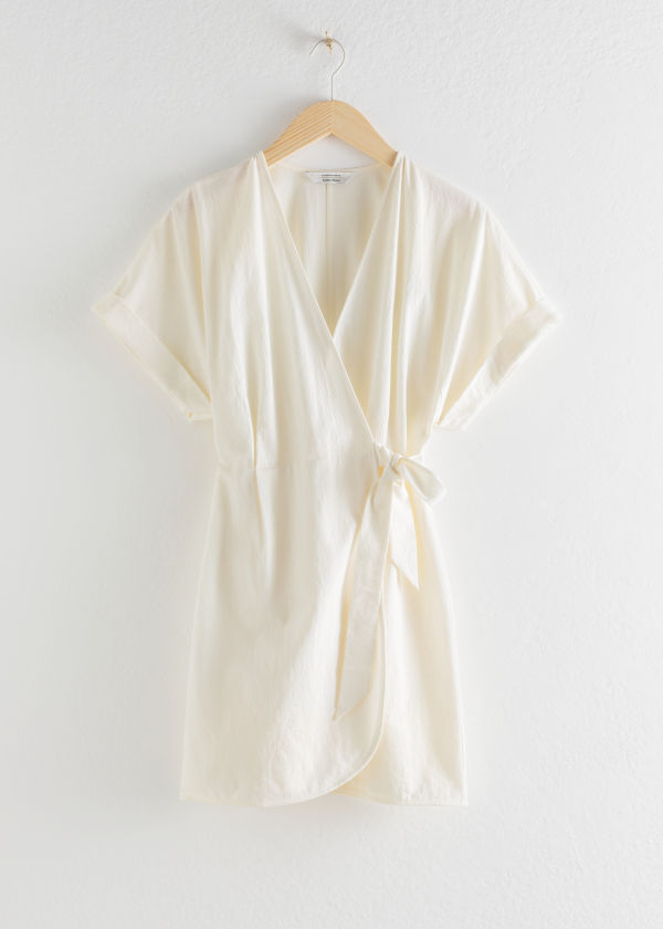 Organic Cotton Wrap Mini Dress