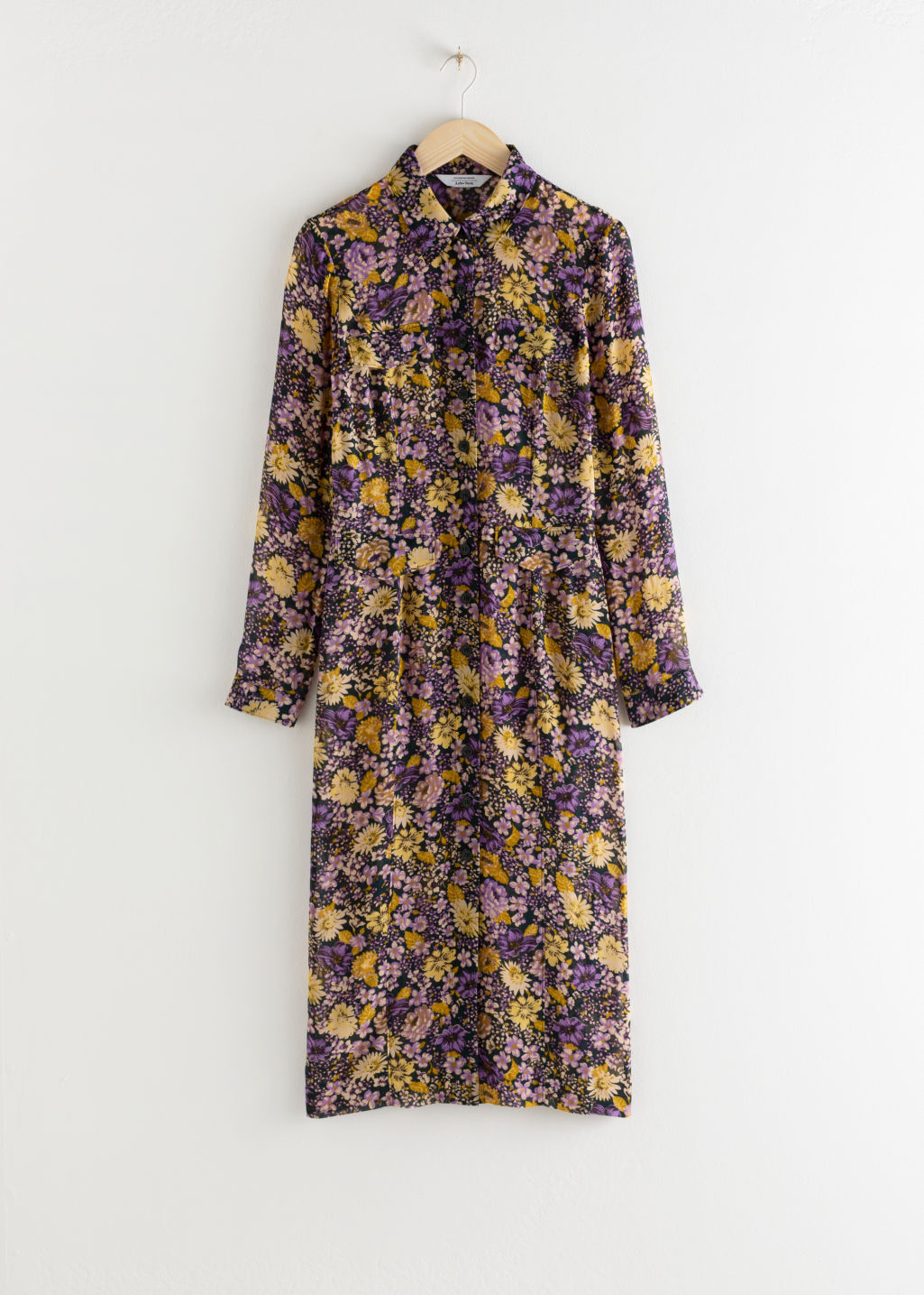 Front image of Stories floral utility midi shirt dress in green