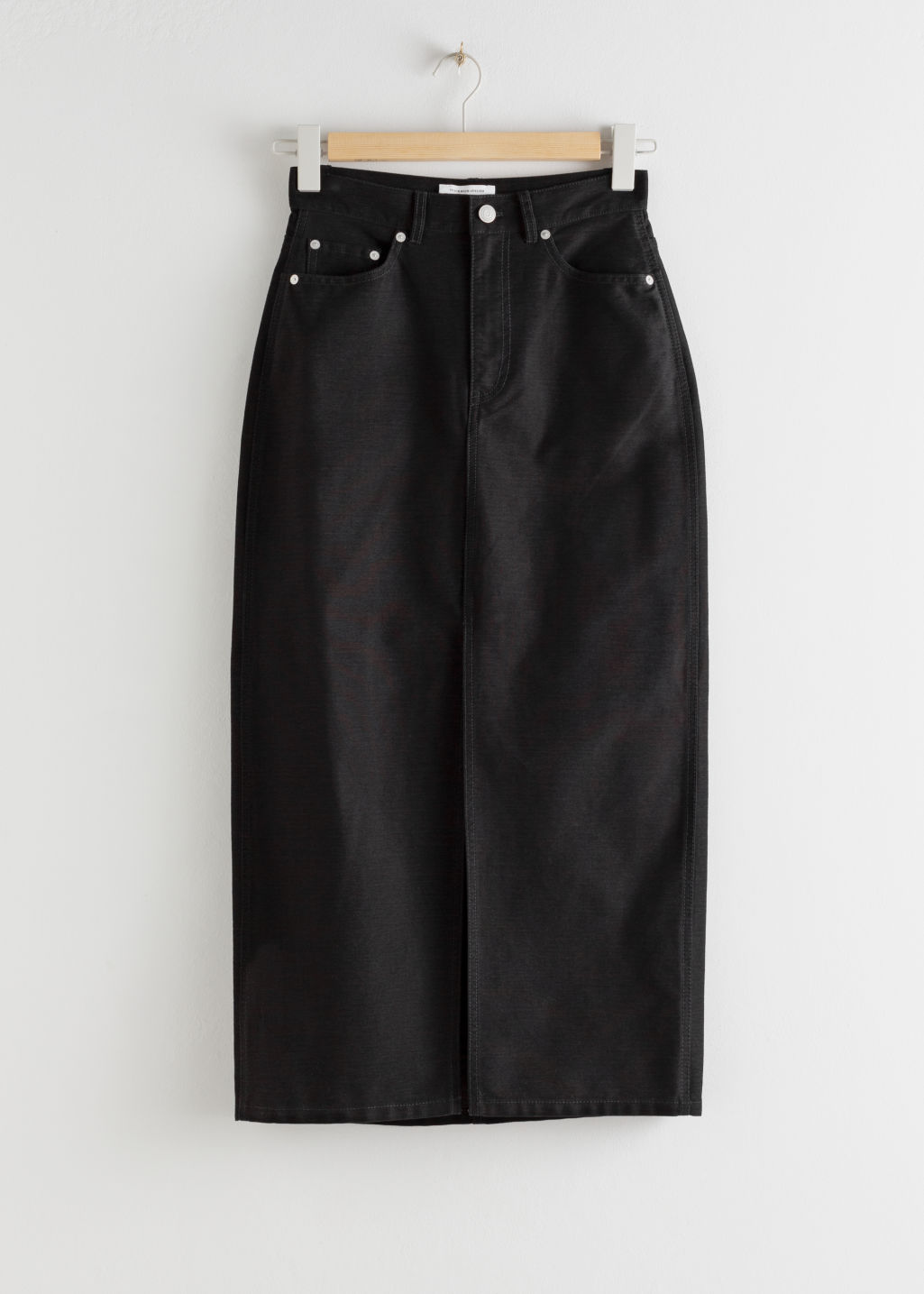 StillLife Front Image of Stories Front Split Denim Midi Skirt in Black