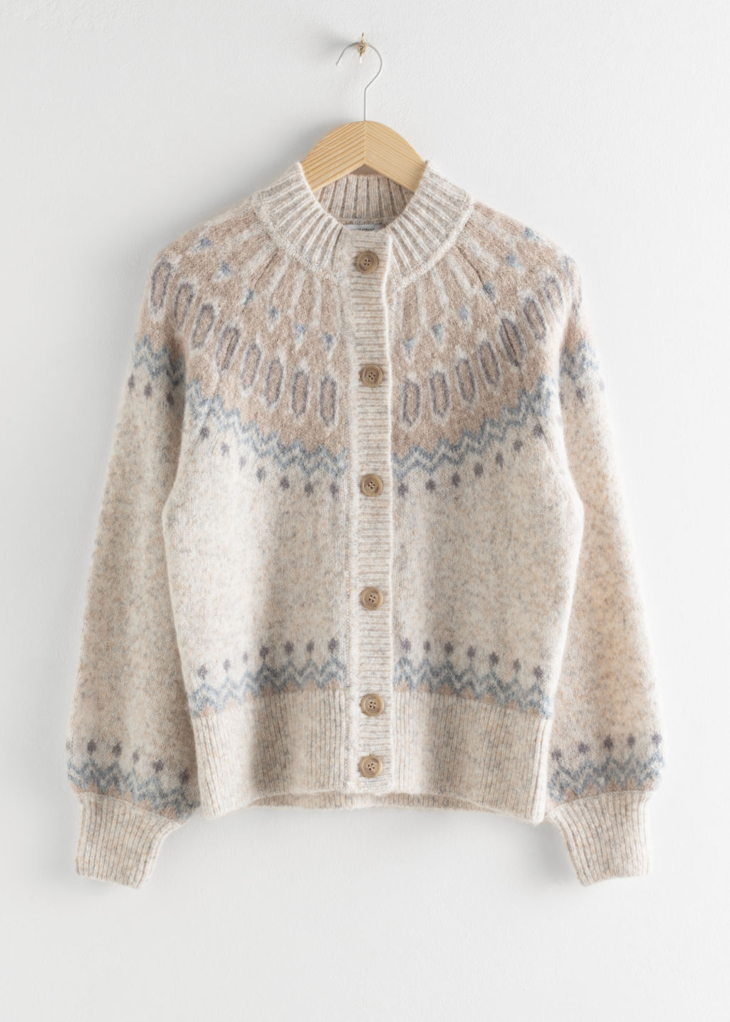 Front image of Stories fairisle knit wool blend cardigan in beige