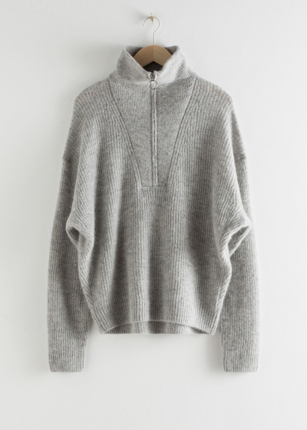 StillLife Front Image of Stories Wool Blend O-Ring Zipper Turtleneck in Grey