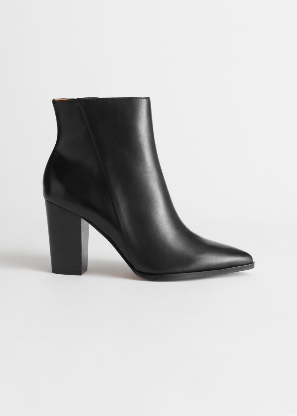 StillLife Front Image of Stories Leather Pointed Ankle Boots in Black