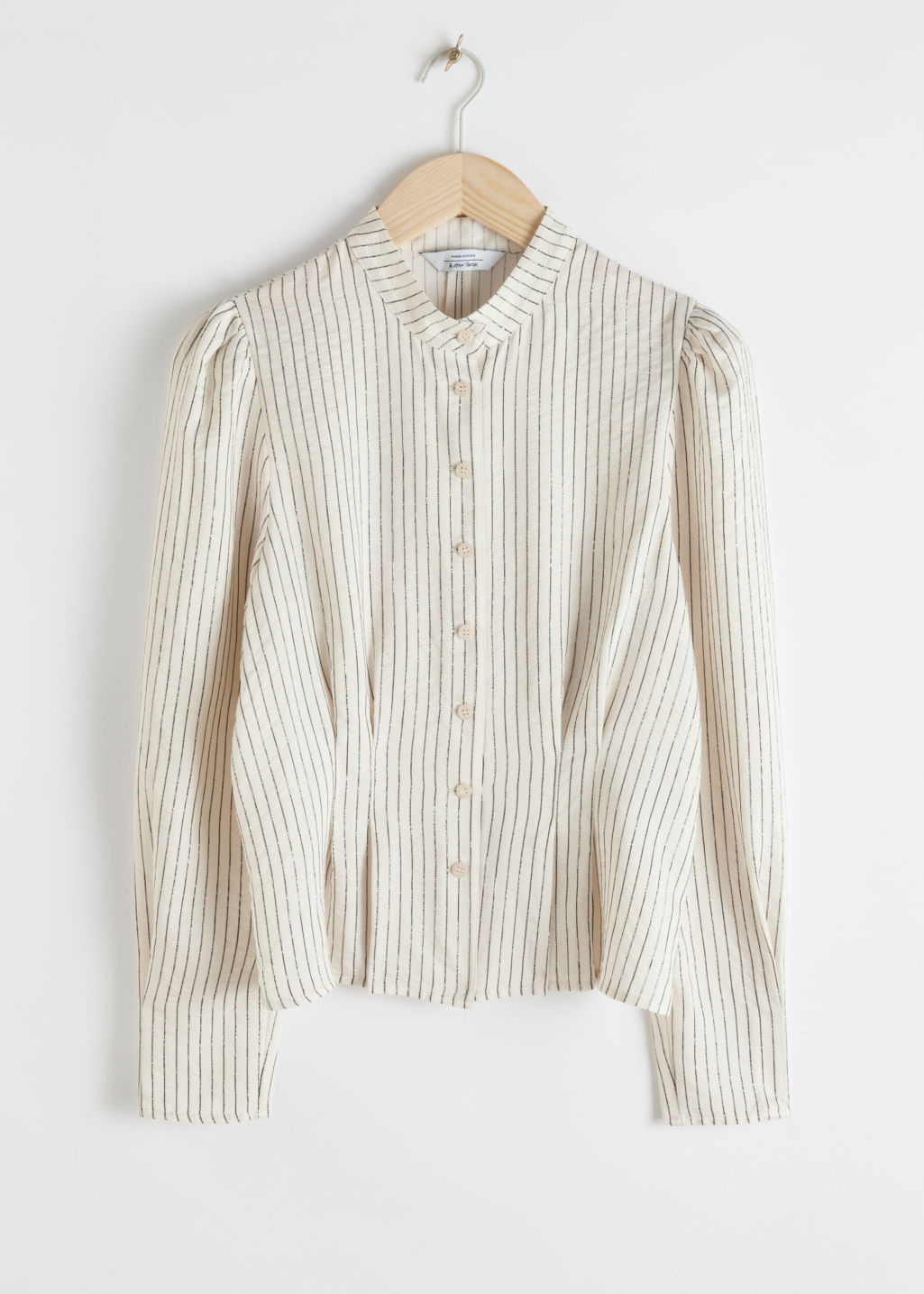 Front image of Stories glitter striped button up blouse in white