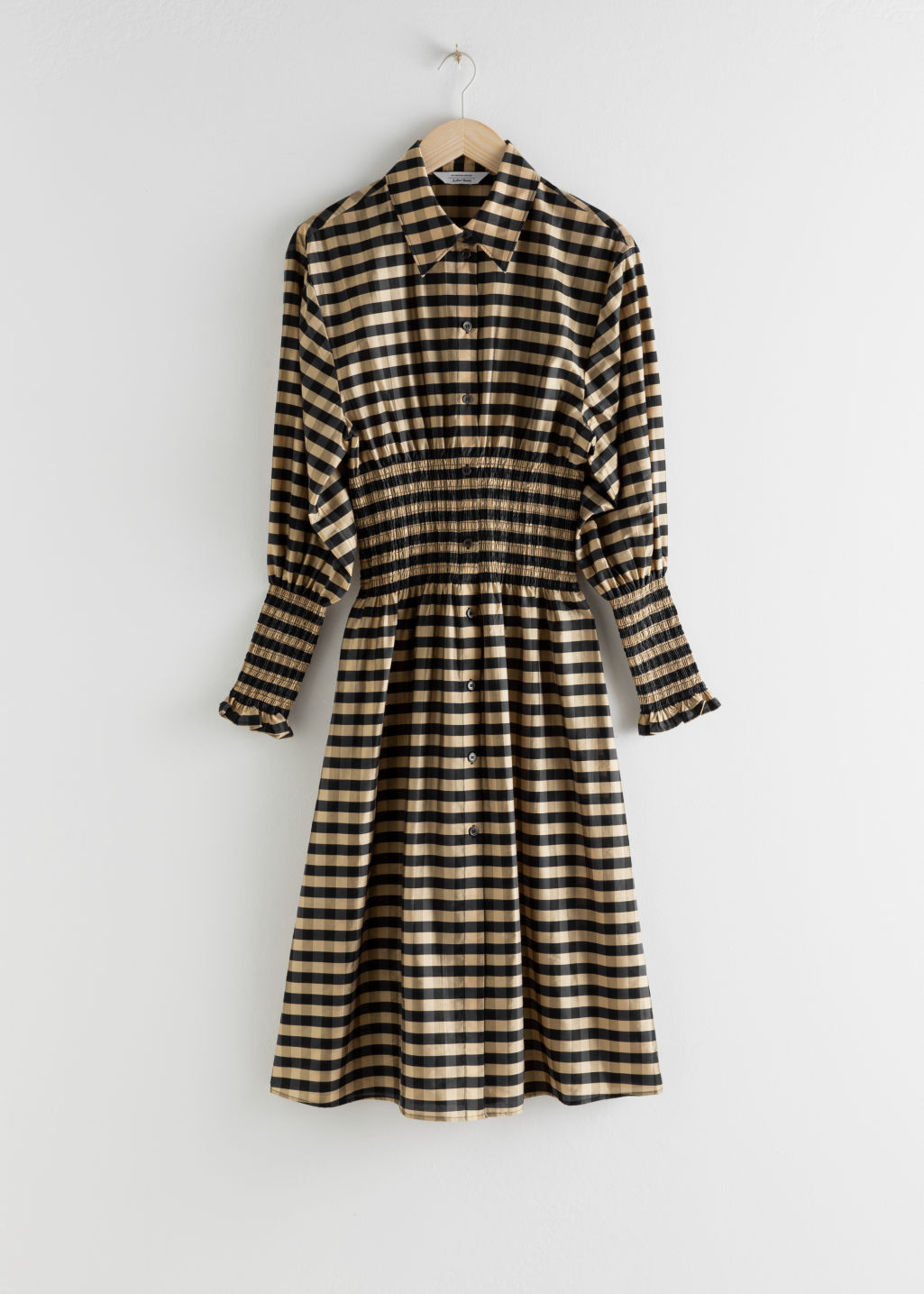 StillLife Front Image of Stories Smocked Plaid Midi Shirt Dress in Beige