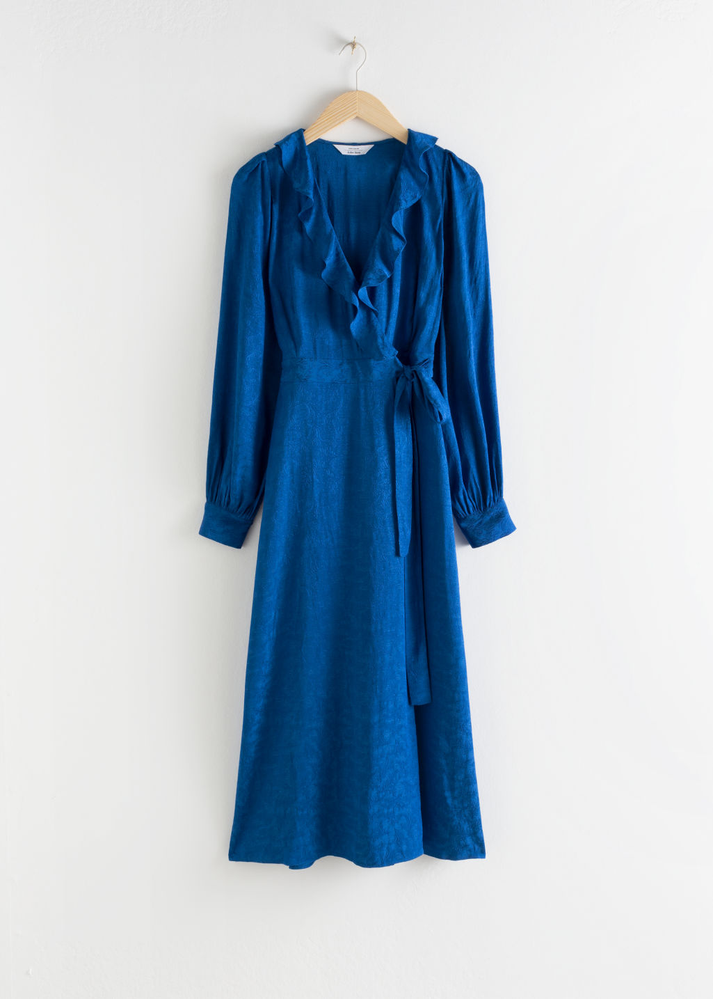 StillLife Front Image of Stories Ruffled Jacquard Midi Wrap Dress in Blue