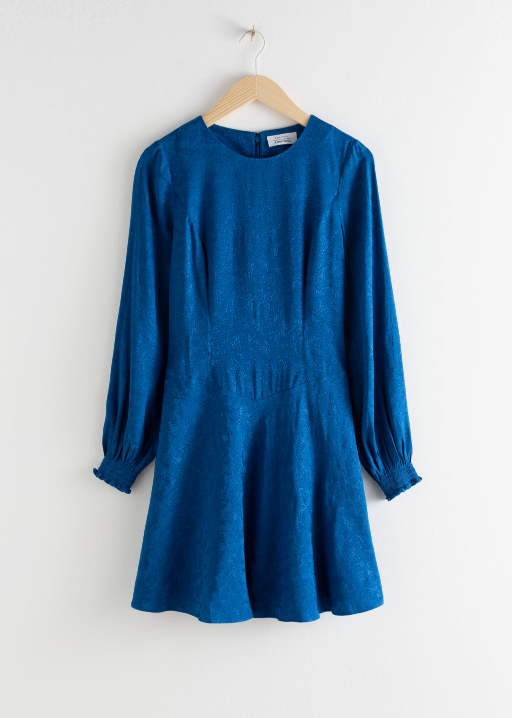 Front image of Stories jacquard puff sleeve mini dress in blue