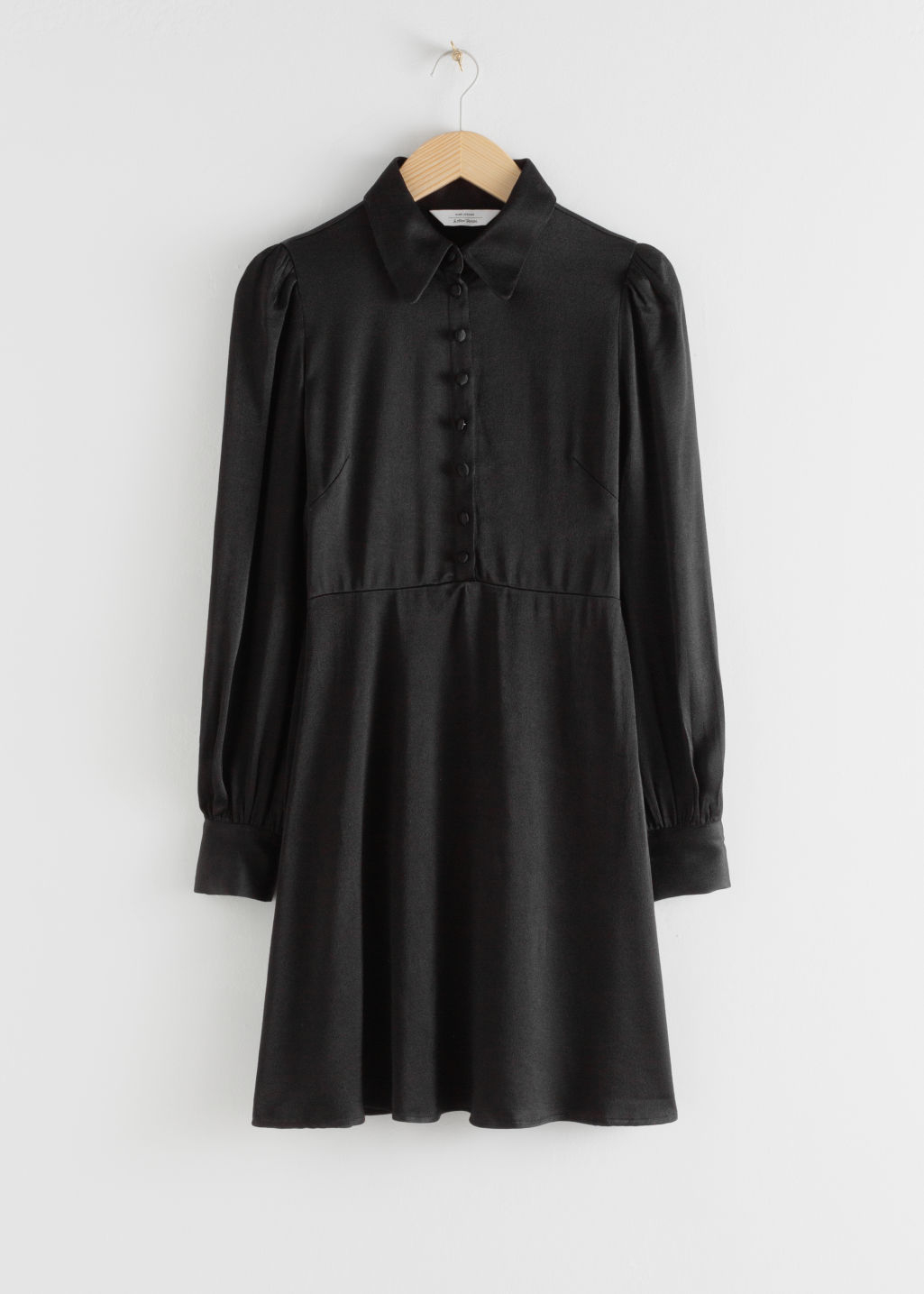 Front image of Stories satin mini shirt dress in black