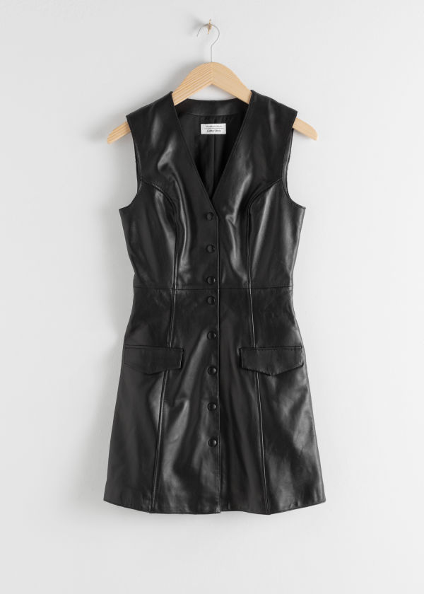 Leather Sleeveless Mini Dress