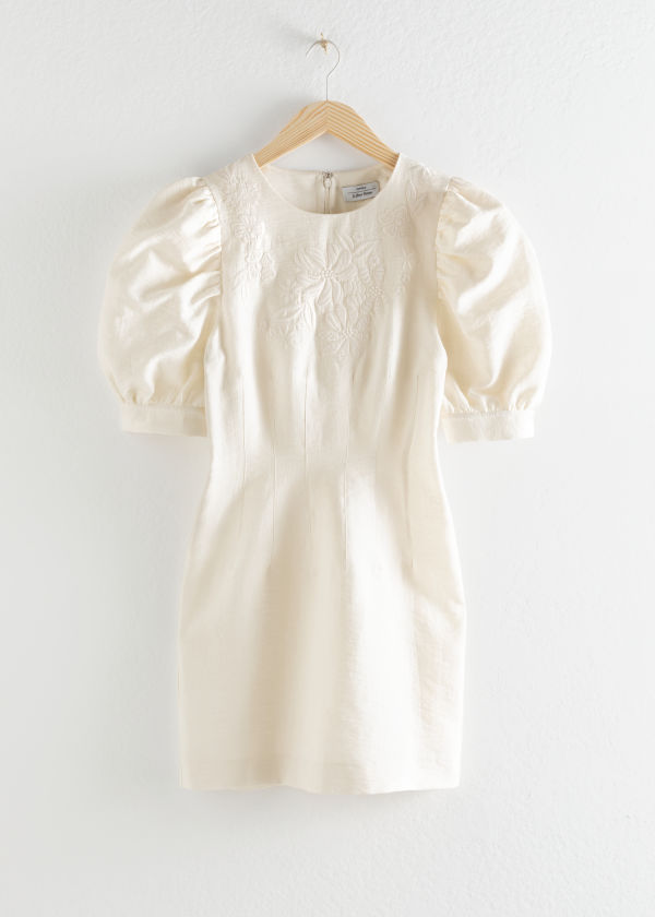 Embroidered Cotton Dress With Puff Sleeves