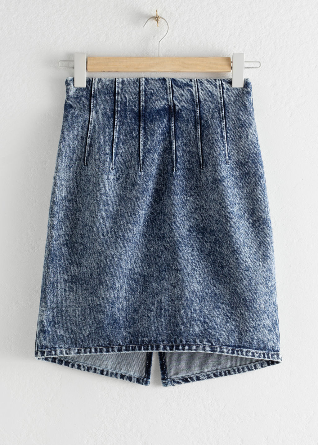 StillLife Front Image of Stories Pleated Denim Mini Pencil Skirt in Blue