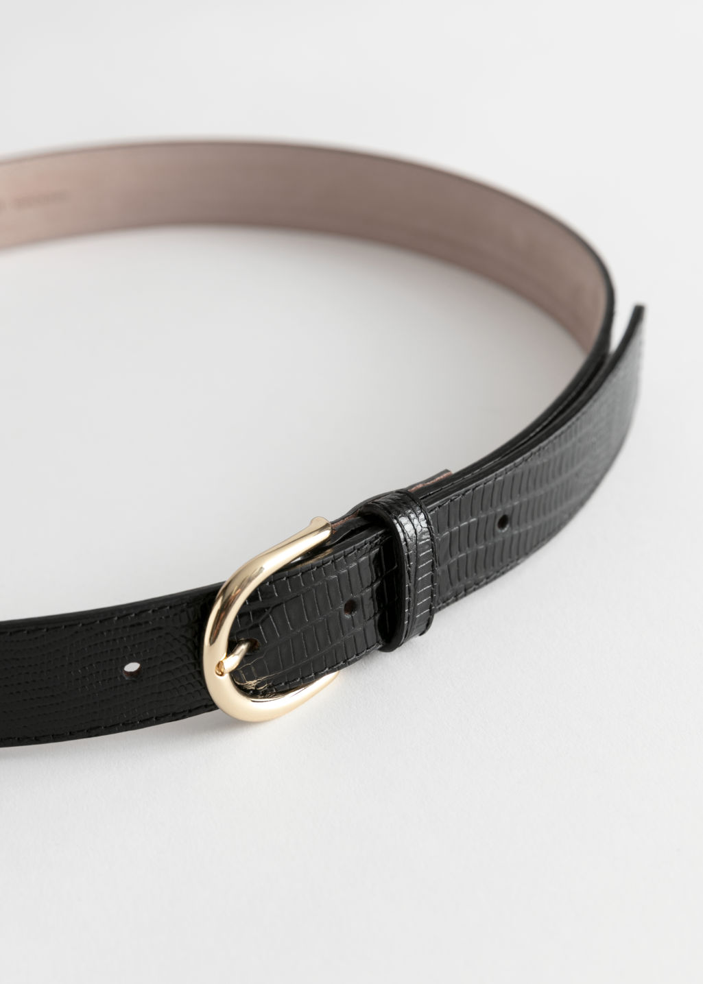 Back image of Stories snake embossed leather belt in black