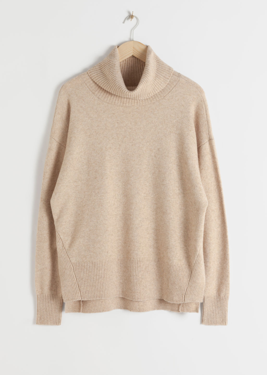 Front image of Stories boxy turtleneck sweater in beige
