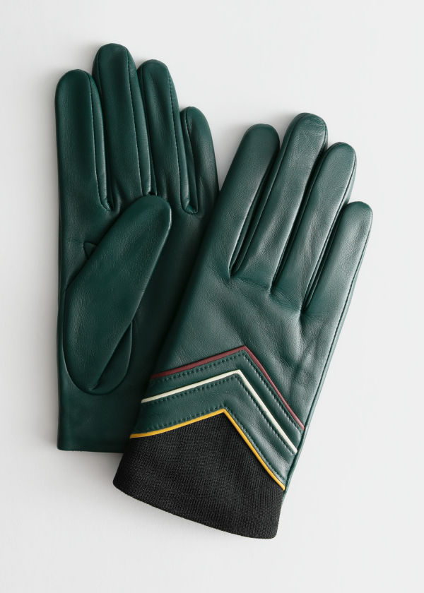 Arrow Piping Leather Gloves