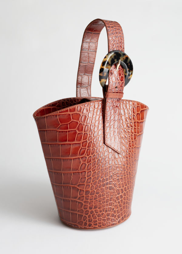 Croc Tortoise Buckle Bucket Bag