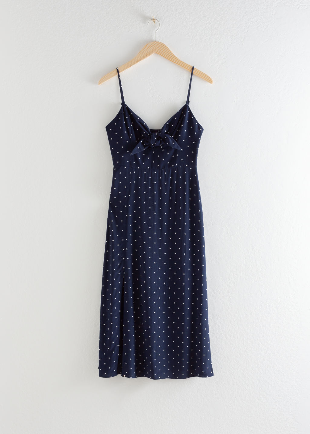 Front image of Stories knotted a-line midi slit dress in blue