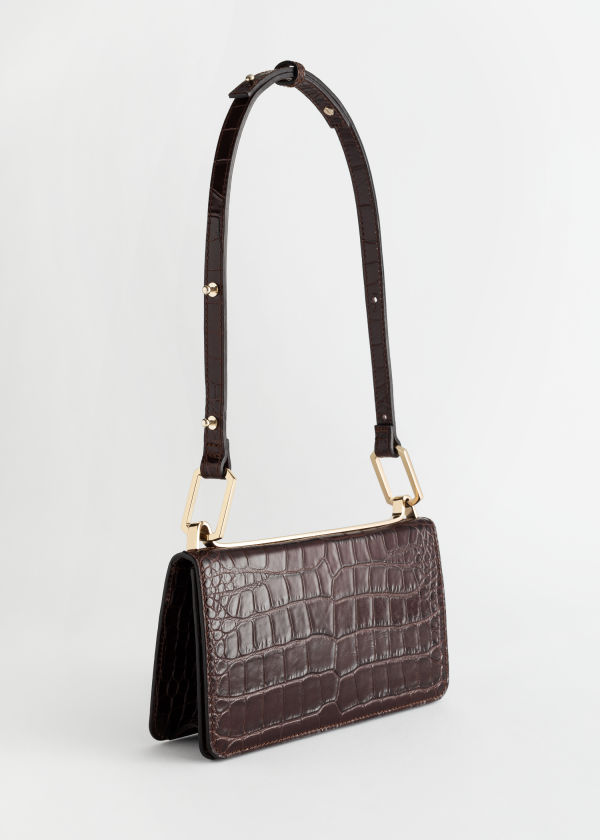 Duo Buckle Croc Shoulder Bag
