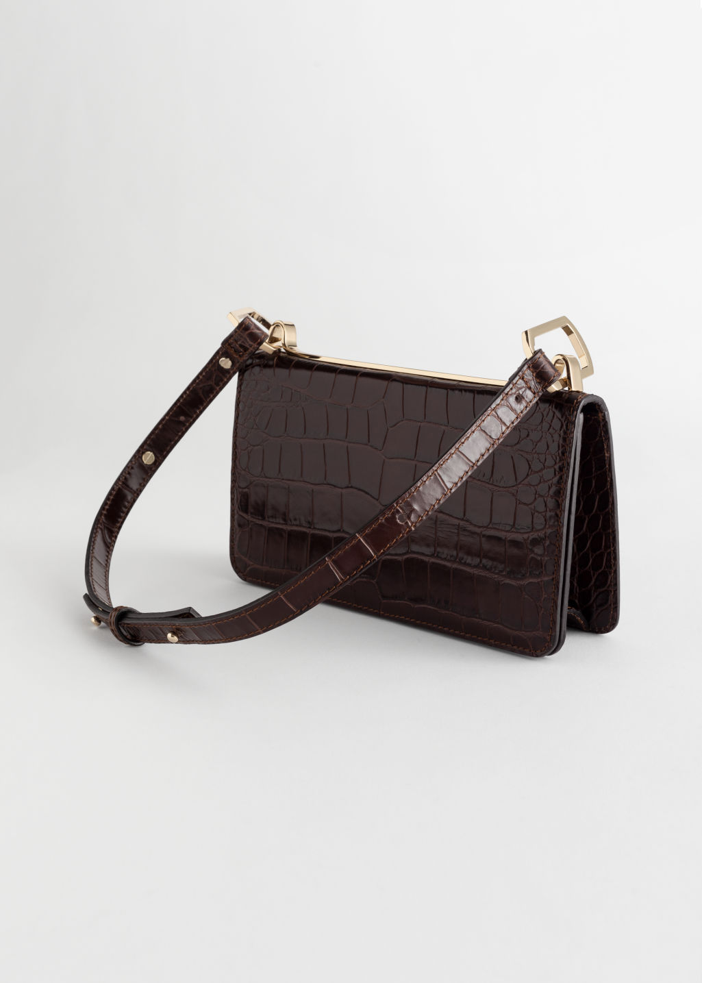 Back image of Stories duo buckle croc baguette in brown