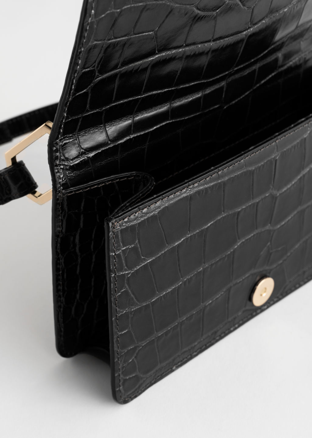 Back image of Stories duo buckle croc baguette in black