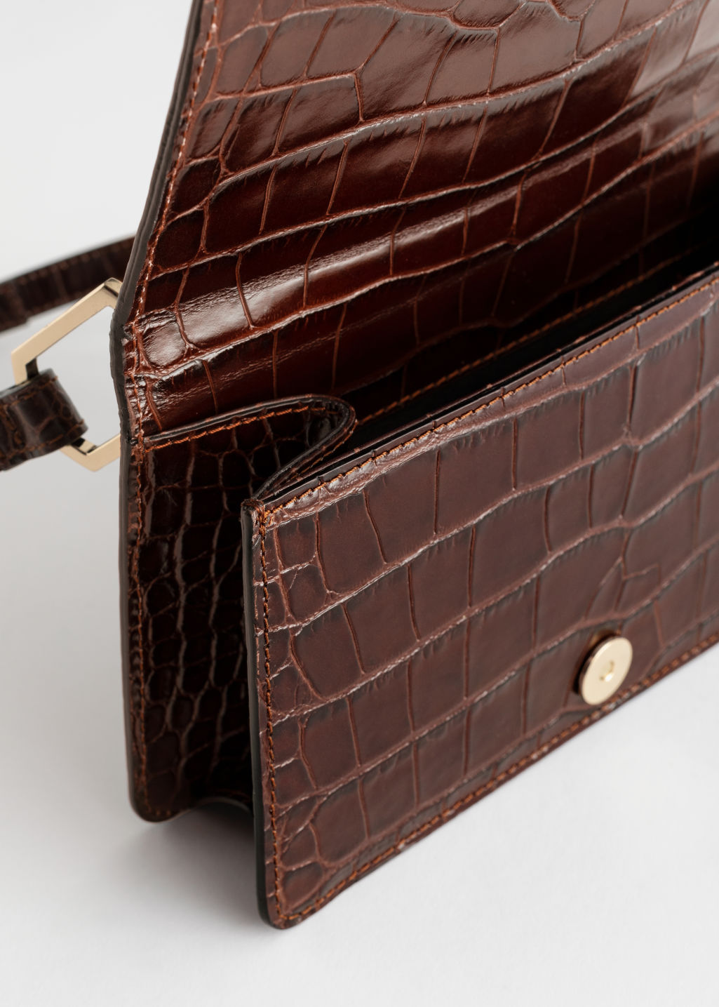 Side image of Stories duo buckle croc baguette in beige