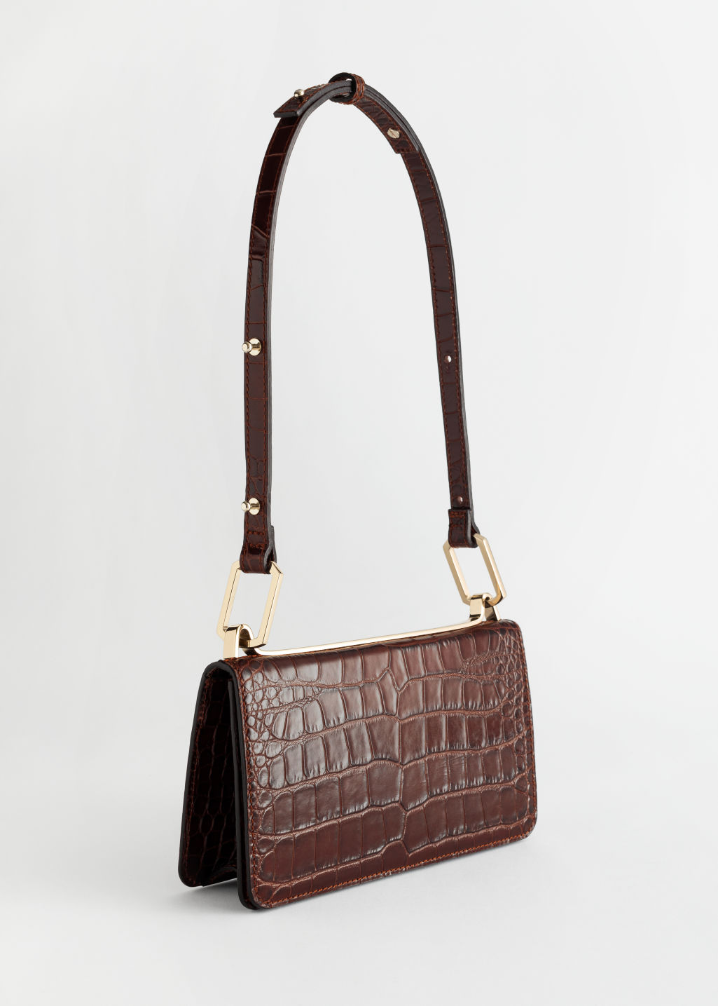Front image of Stories duo buckle croc baguette in beige
