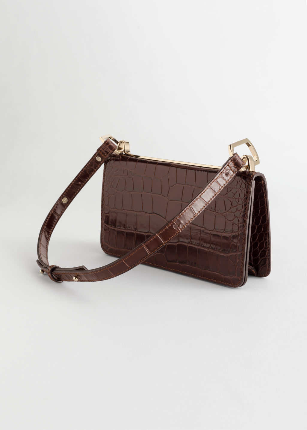 Back image of Stories duo buckle croc baguette in beige