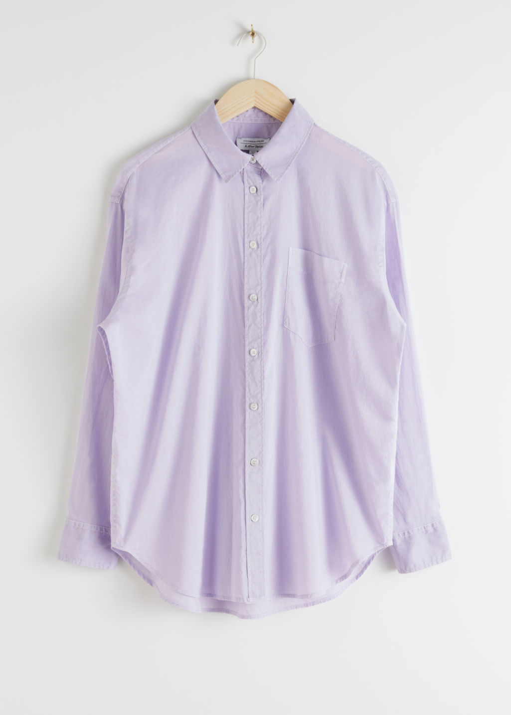 StillLife Front Image of Stories Oversized Button Up Shirt in Purple