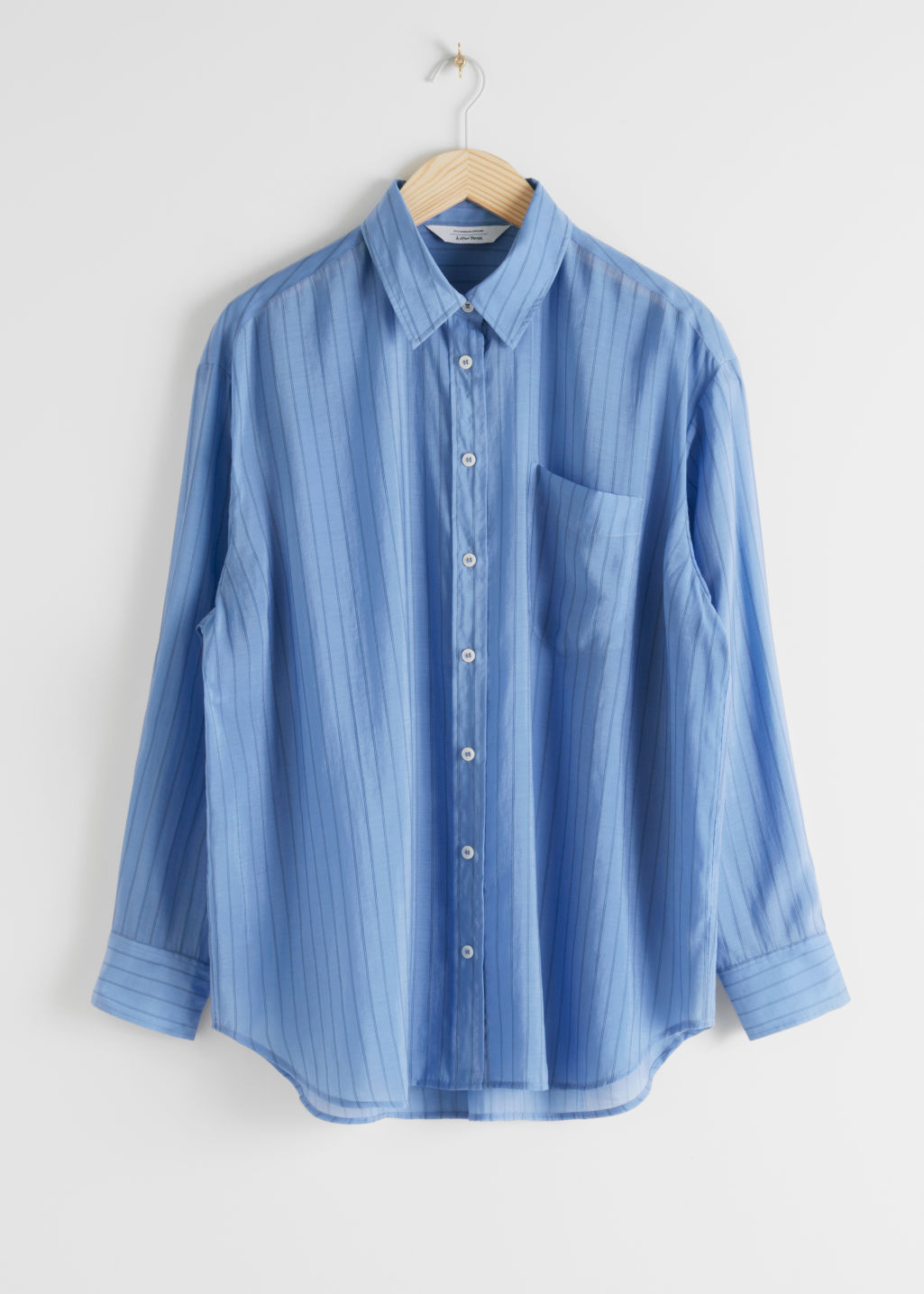 StillLife Front Image of Stories Oversized Button Up Shirt in Blue