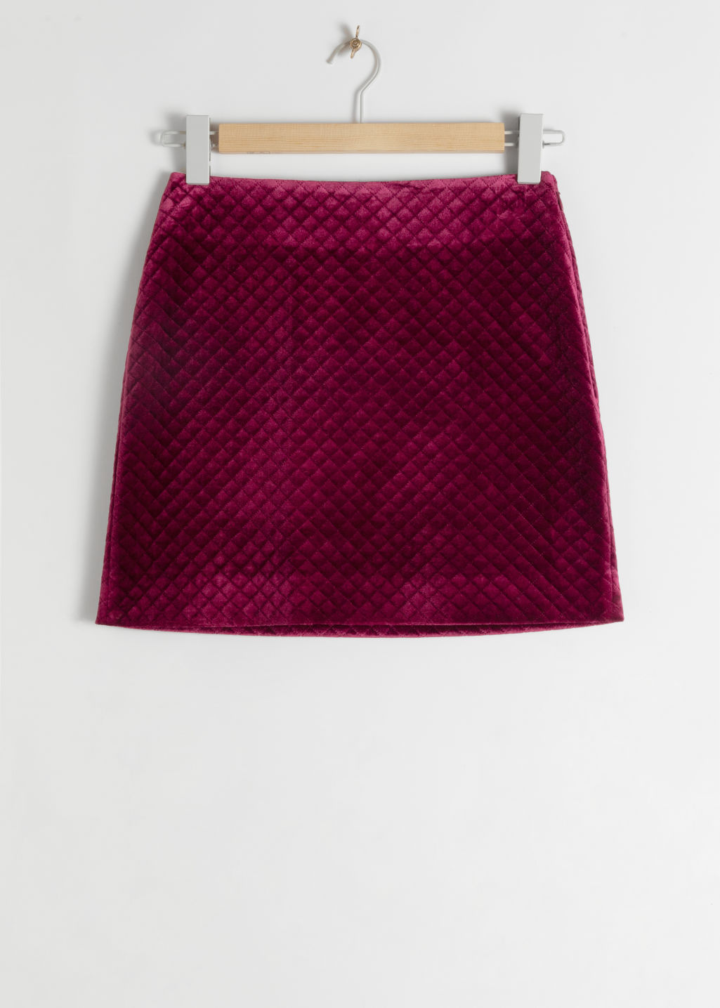 StillLife Front Image of Stories Quilted Velour Mini Skirt in Pink