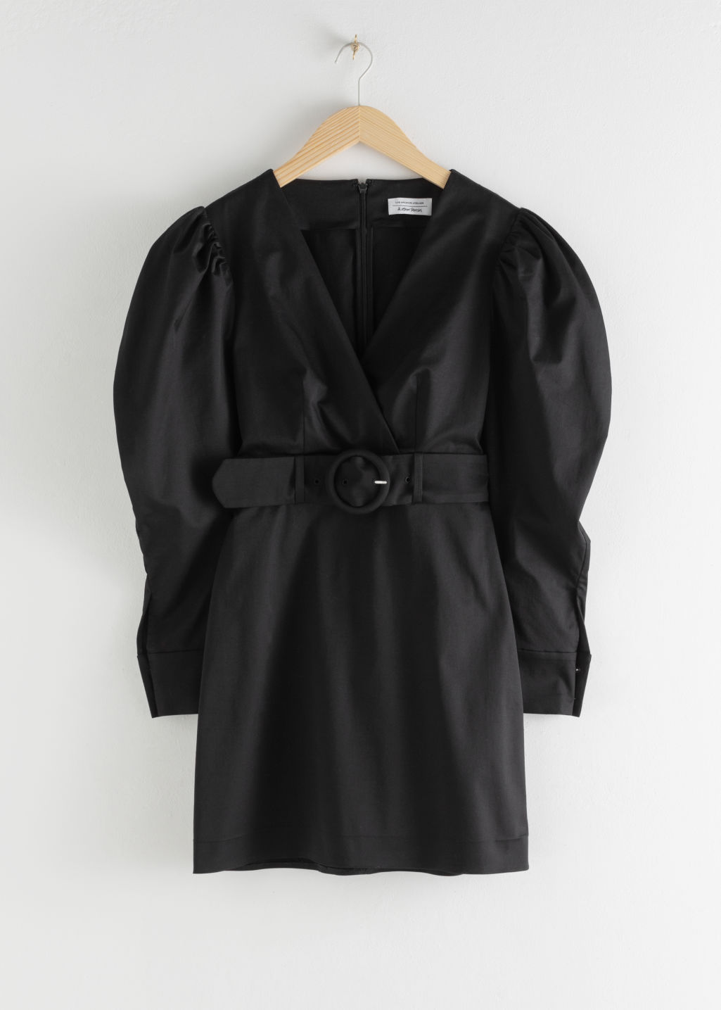 Front image of Stories belted puff sleeve mini dress in black