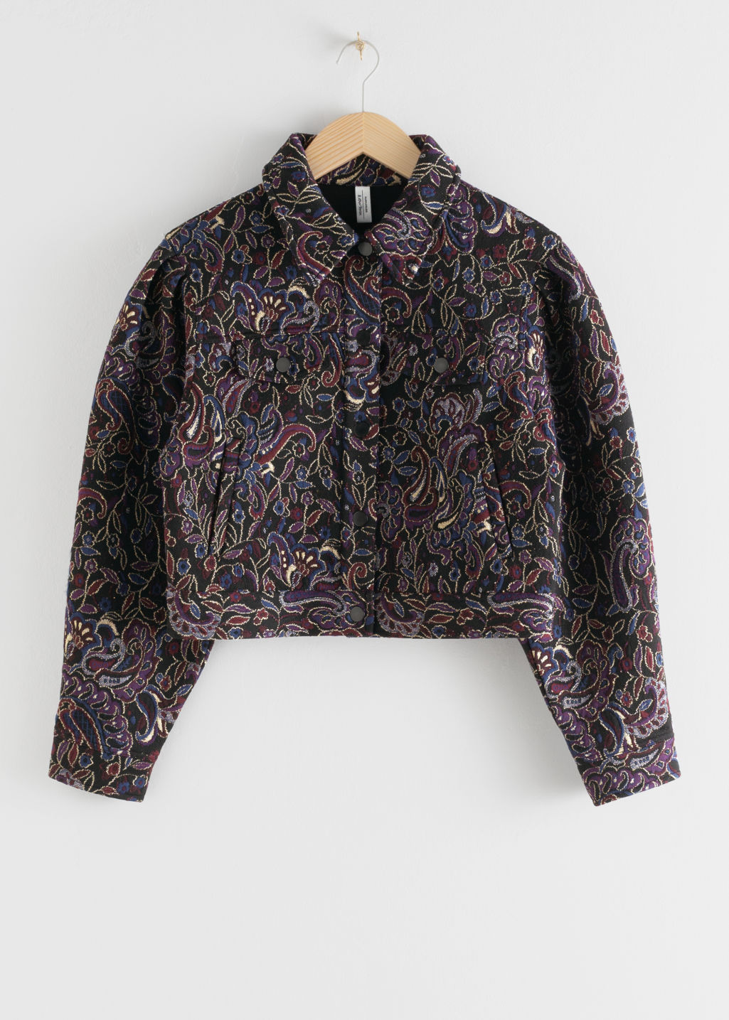 Front image of Stories paisley jacquard boxy jacket in black
