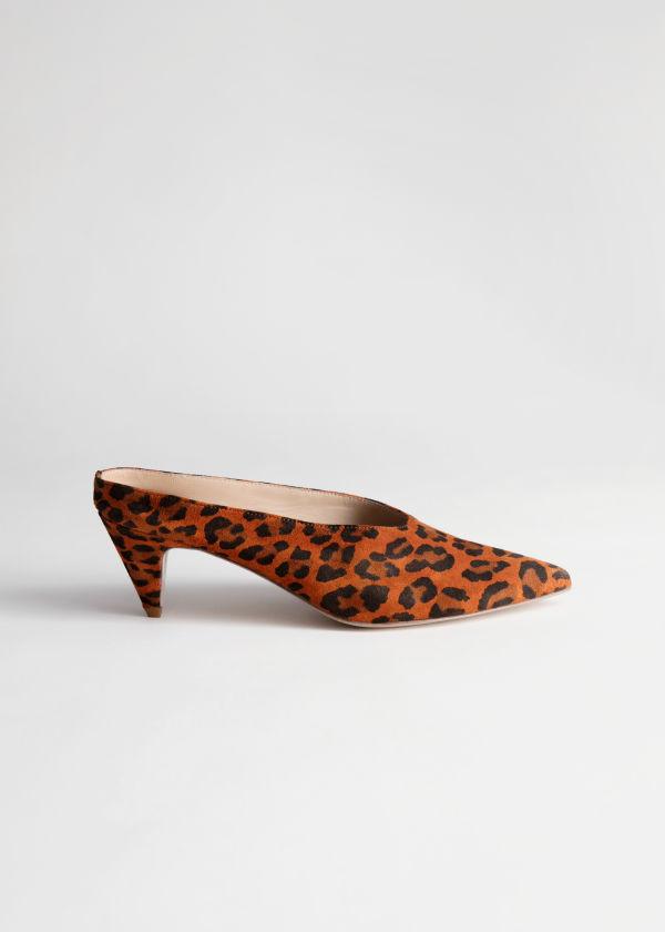 3ac0309816e Suede Leopard Kitten Heel Mules ...