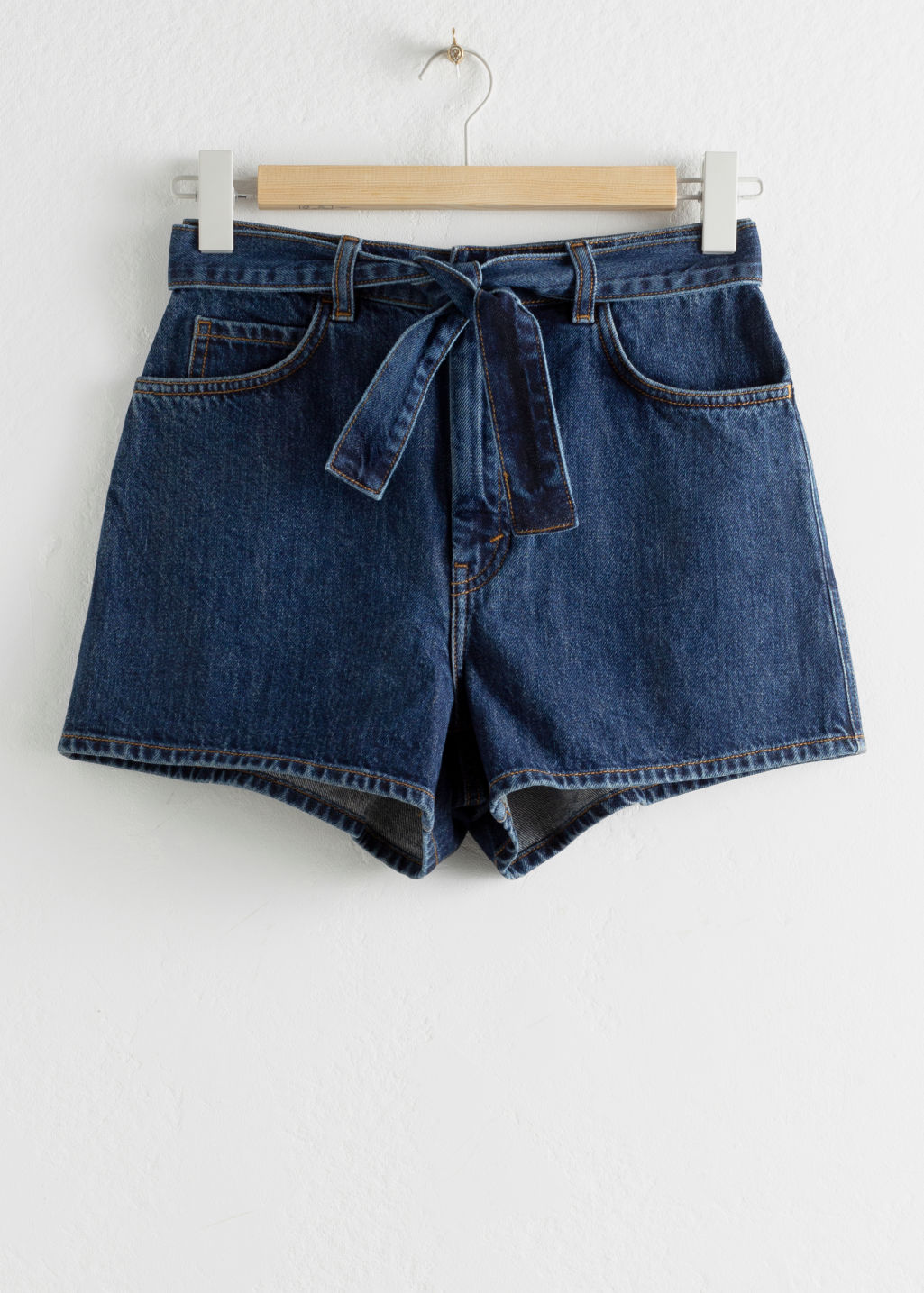 StillLife Front Image of Stories Belted Denim Shorts in Blue