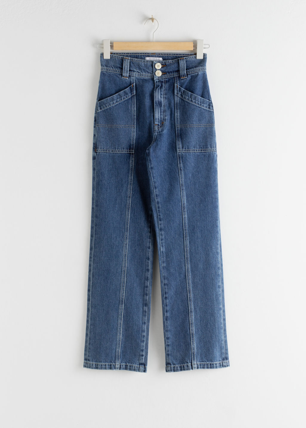 Front image of Stories straight high rise utility jeans in blue