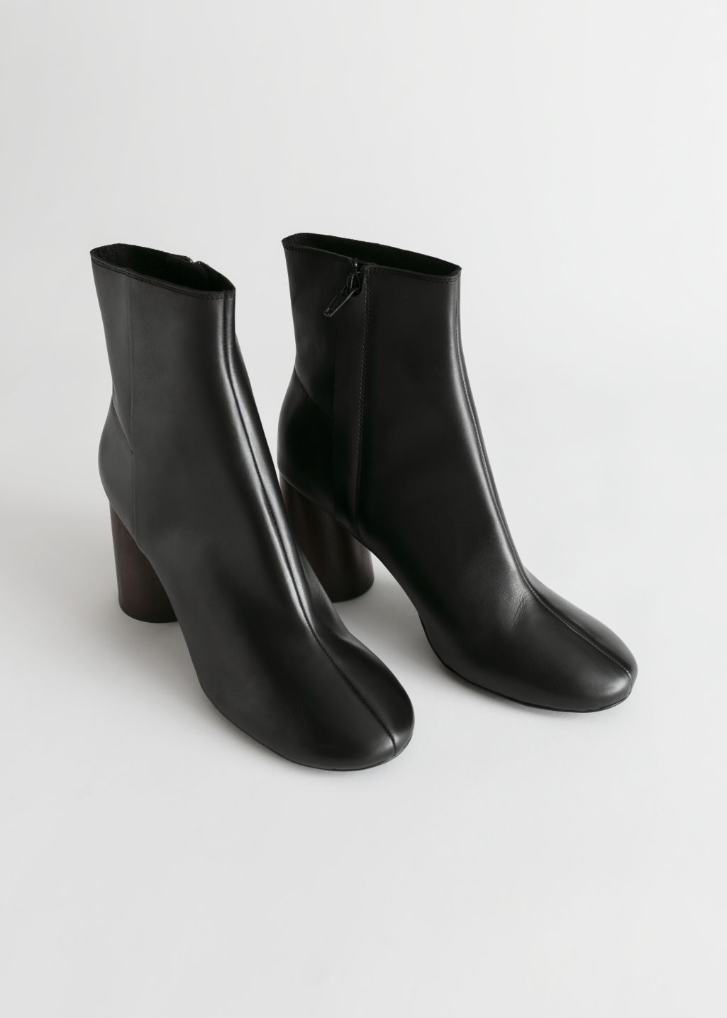 Back image of Stories almond toe leather ankle boots in black