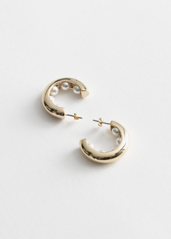 Pearl Embellished Mini Hoop Earrings