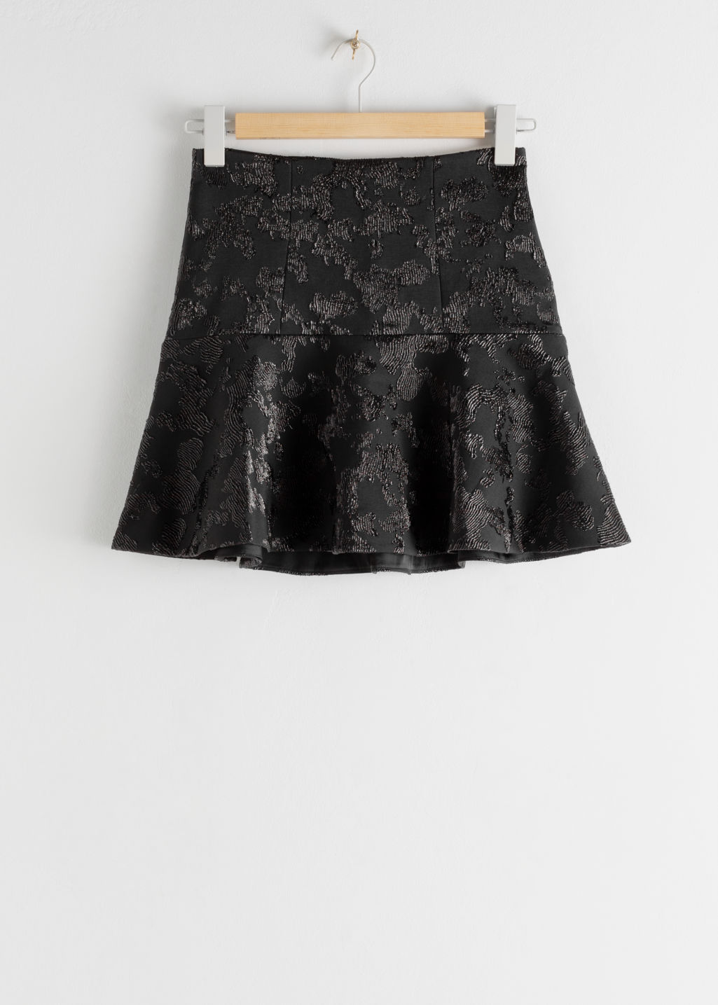 StillLife Front Image of Stories Ruffle Hem Mini Jacquard Skirt in Black