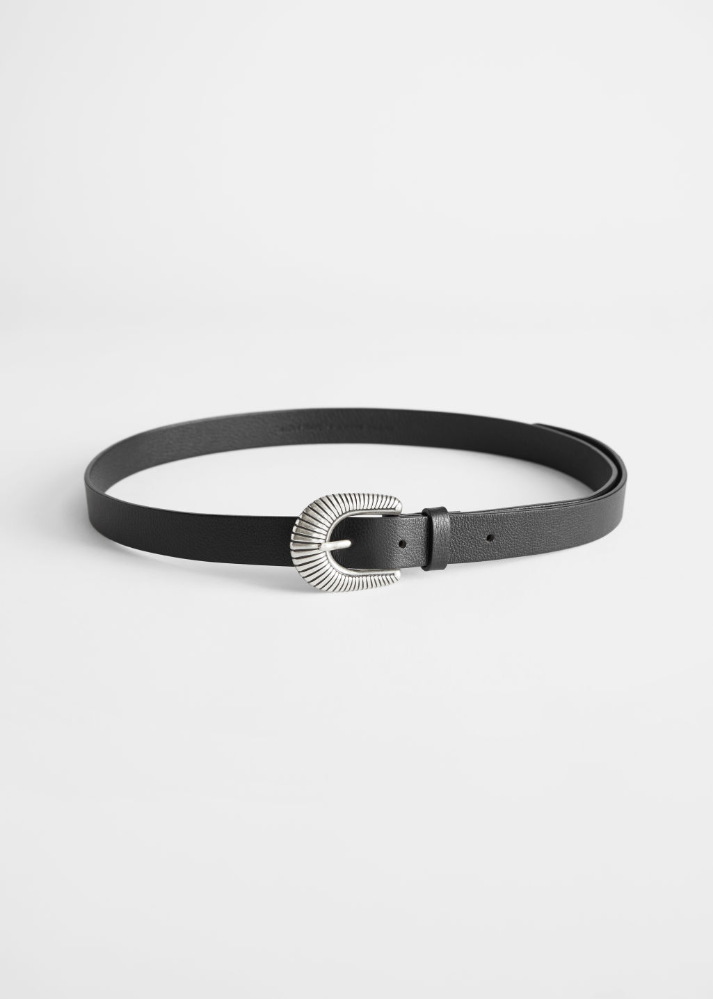Front image of Stories western buckle leather belt in black