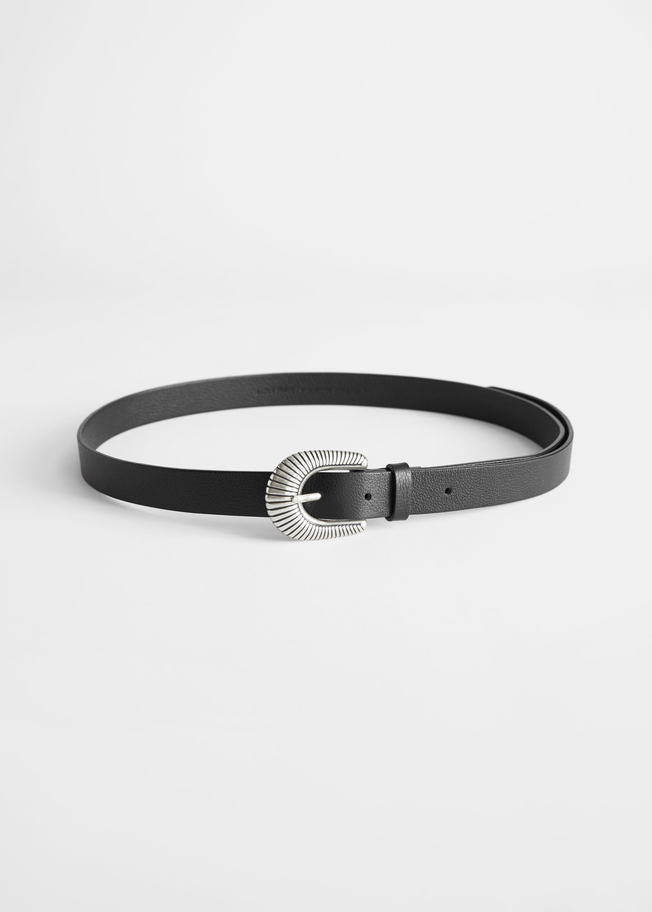 앤 아더 스토리즈 벨트 & OTHER STORIES Western Buckle Leather Belt,Black