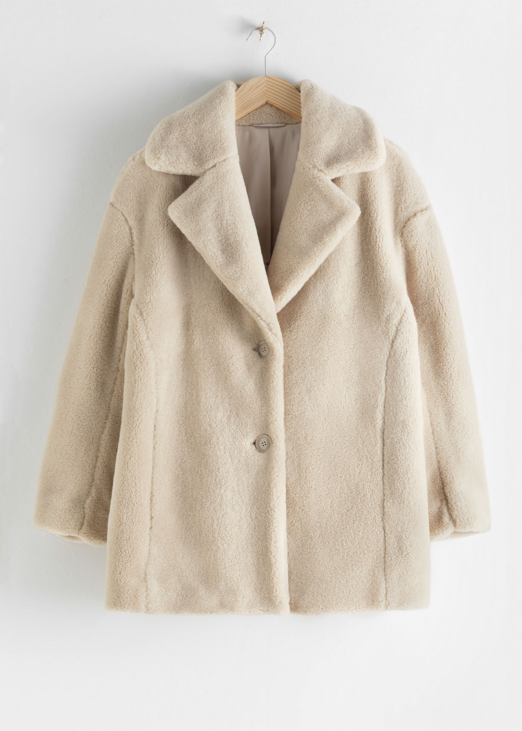 StillLife Front Image of Stories Faux Fur Wool Blend Jacket in Beige