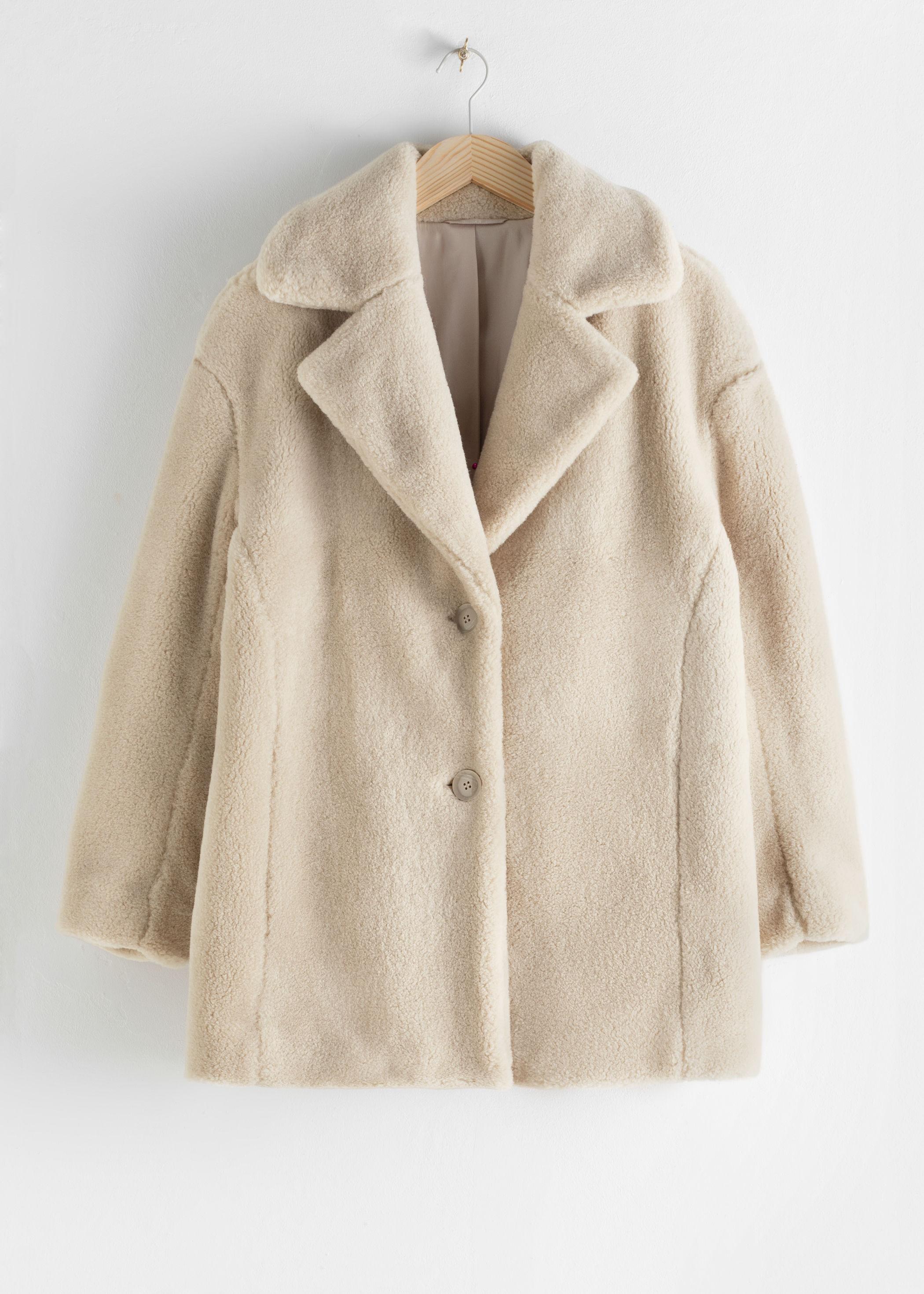 앤 아더 스토리즈 & OTHER STORIES Faux Fur Wool Blend Jacket,Light Beige