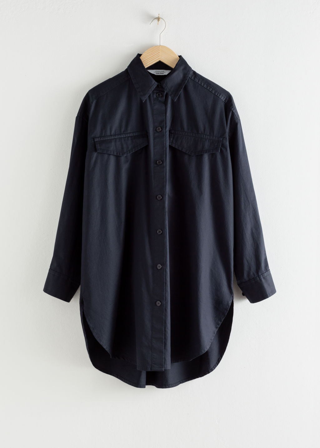 Front image of Stories oversized utility button down shirt in blue