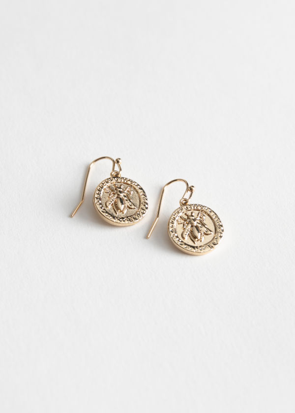 Bee Embossed Hanging Earrings