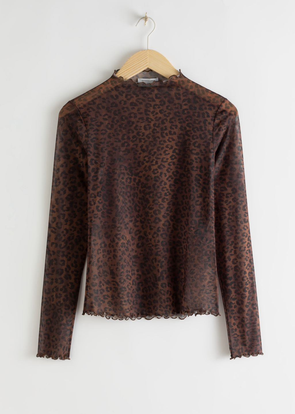 Front image of Stories fitted floral jacquard top in brown