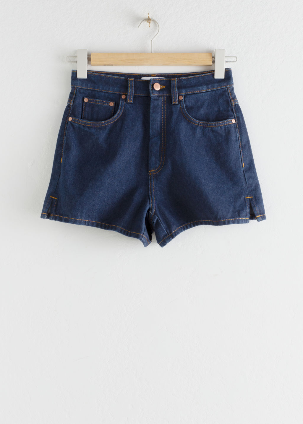 Front image of Stories high waisted side slit denim shorts in blue