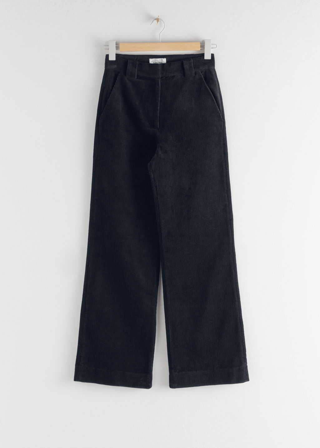 Front image of Stories corduroy flared trousers in blue