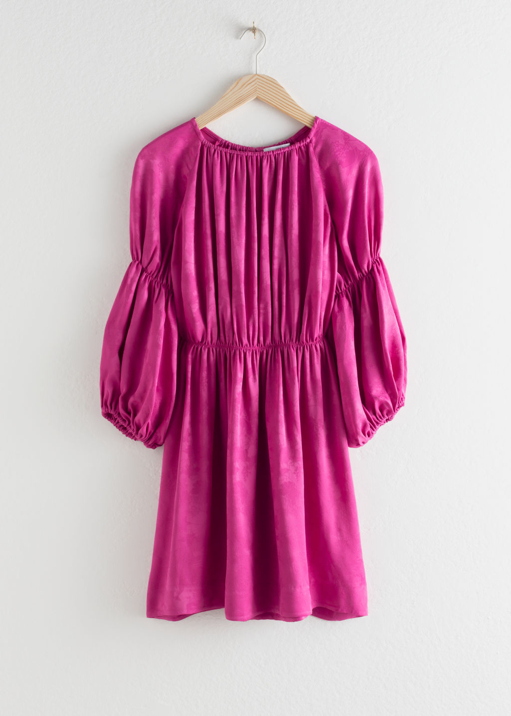 StillLife Front Image of Stories Satin Puff Sleeve Mini Dress in Pink