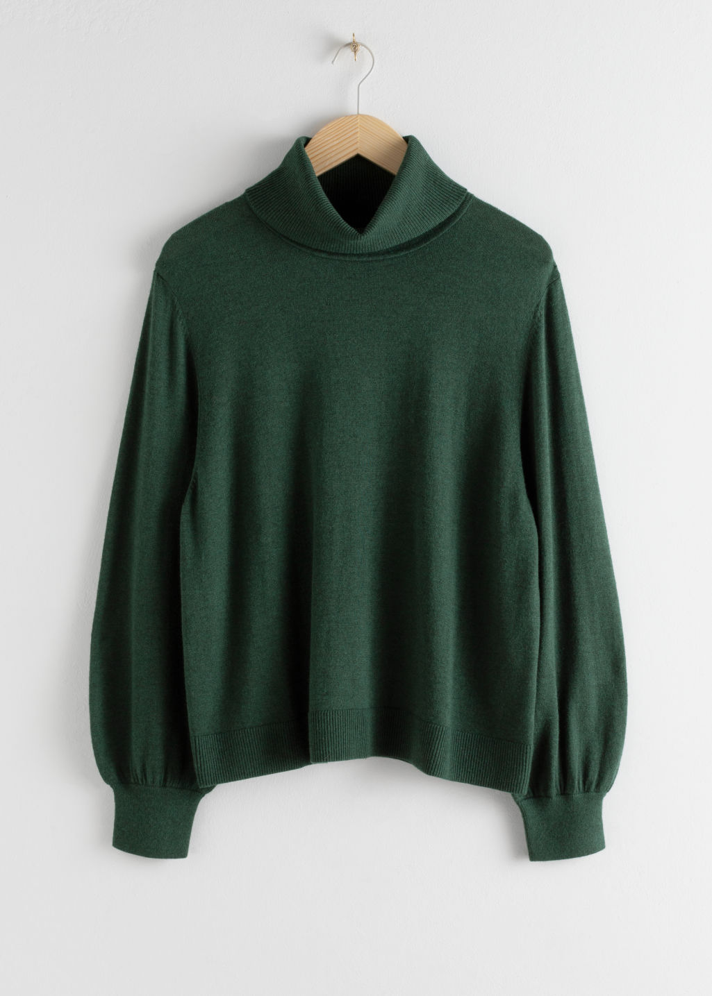 Front image of Stories soft wool blend turtleneck sweater in green