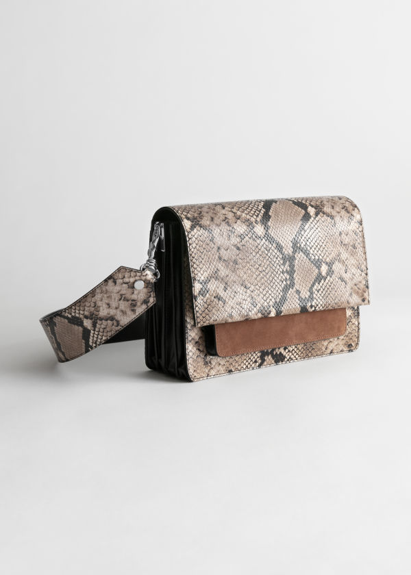Snake Embossed Large Crossbody Bag